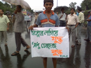Protest against forceful land acqusition at Singur.Phot:Shantanu Debnath.