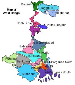 Map of West Bengal.