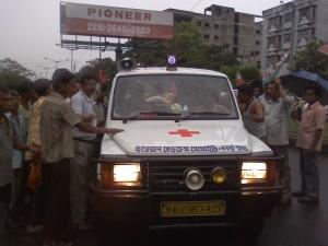 Bandh supporters stop an Ambulance.Photo:Shantanu Debnath.