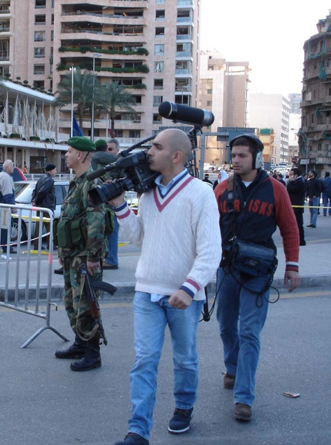 A camera crew on the move in Beirut a day or two after the bomb blast that killed Rafik Hariri, the former Prime Minister of Lebanon.
