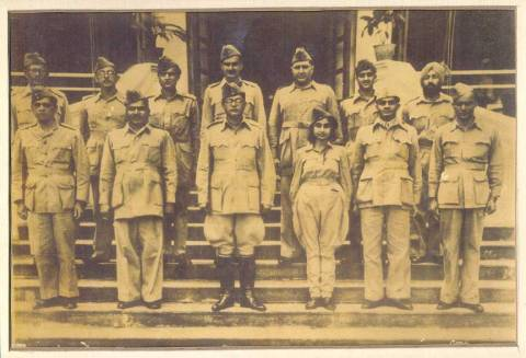 Subhas Chandra Bose with his Ajad Hind Bahini(Force).