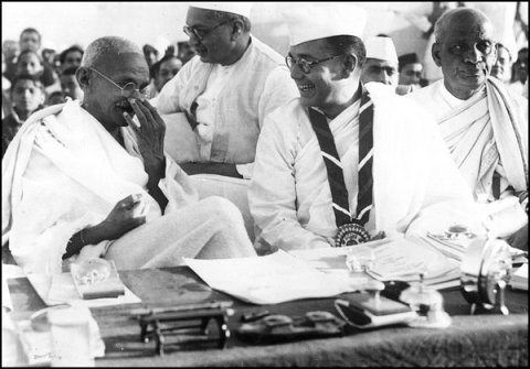 Subhas Chandra Bose with Mahatma Gandhi during Indian National Congress 51st season.