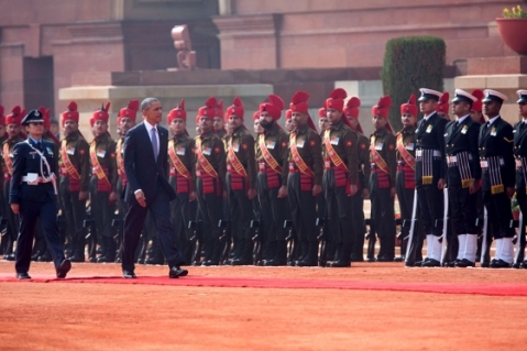President Barack Obama participates in a ceremonial welcome at Rashtrapati Bhawan in New Delhi, India. January 25, 2015. (Official White House Photo by Lawrence Jackson)