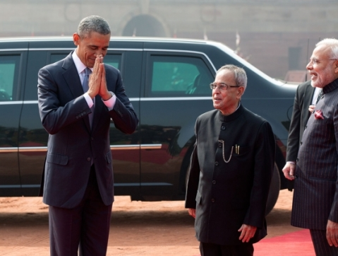 President Barack Obama participates in a traditional greeting with President Pranab Mukherjee and Prime Minister Narendra Modi following a ceremonial welcome at Rashtrapati Bhawan in New Delhi, India. January 25, 2015. (Official White House Photo by Pete Souza)